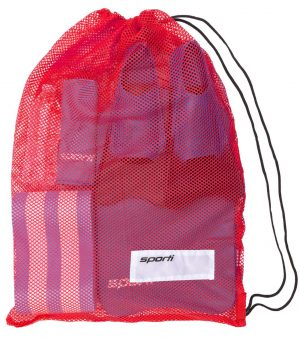SPORTI MESH EQUIPMENT DRAWSTRING BAG – RED