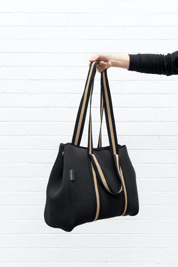 PRENE BAGS THE GIGI BAG BLACK BEIGE NEOPRENE TOTE BAG by Jesswim