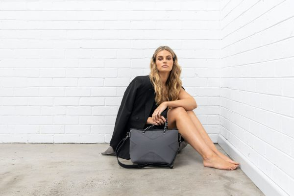 PRENE BAGS THE XS BAG CHARCOAL NEOPRENE TOTE BAG by Jesswim